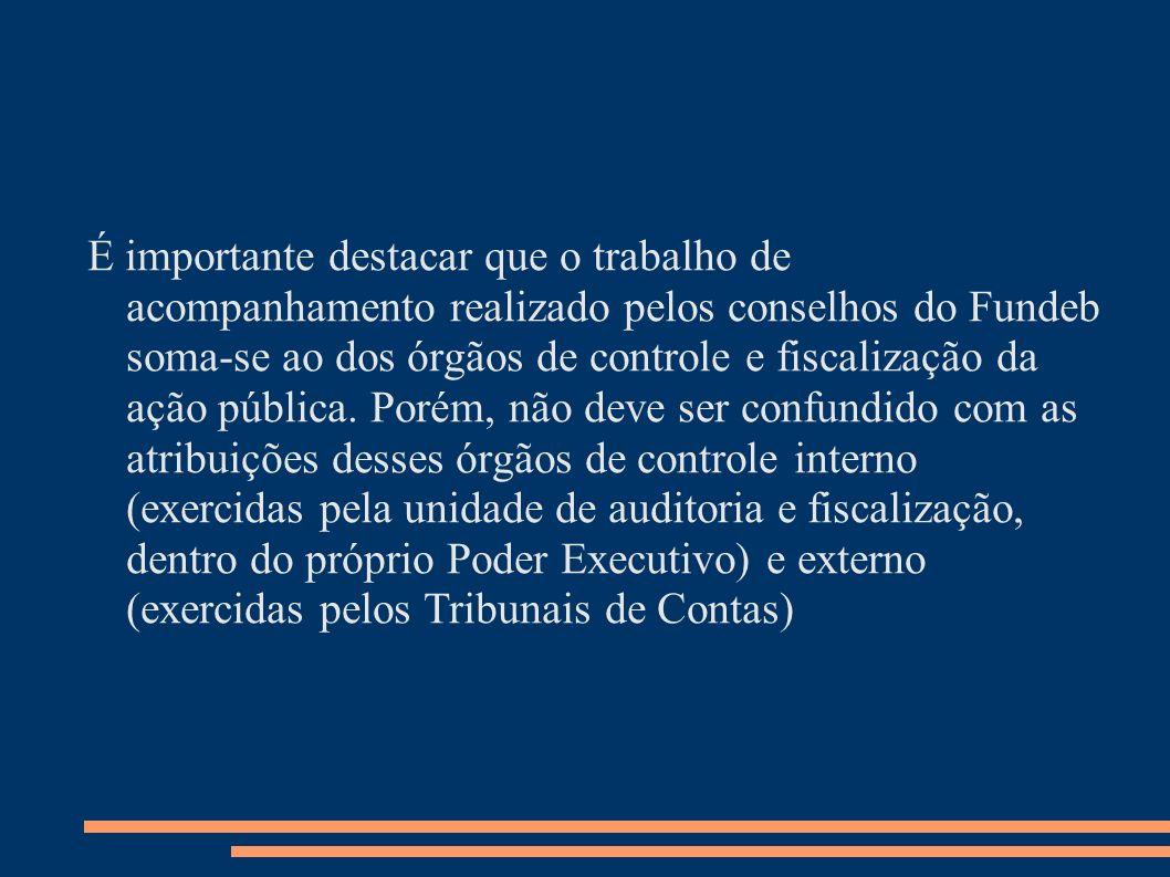 É importante destacar que o trabalho de acompanhamento realizado pelos conselhos do Fundeb soma-se ao dos órgãos de controle e fiscalização da ação pública.