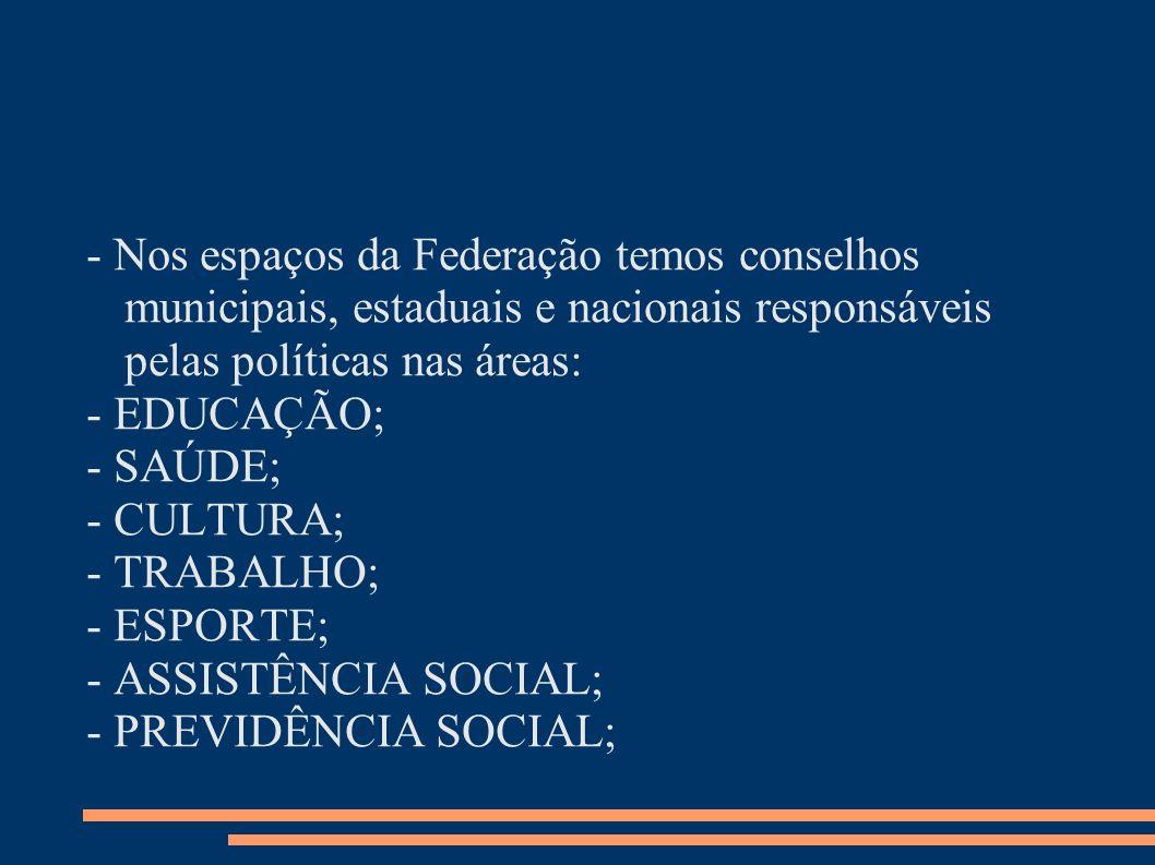 - Nos espaços da Federação temos conselhos municipais, estaduais e nacionais responsáveis pelas políticas nas áreas: