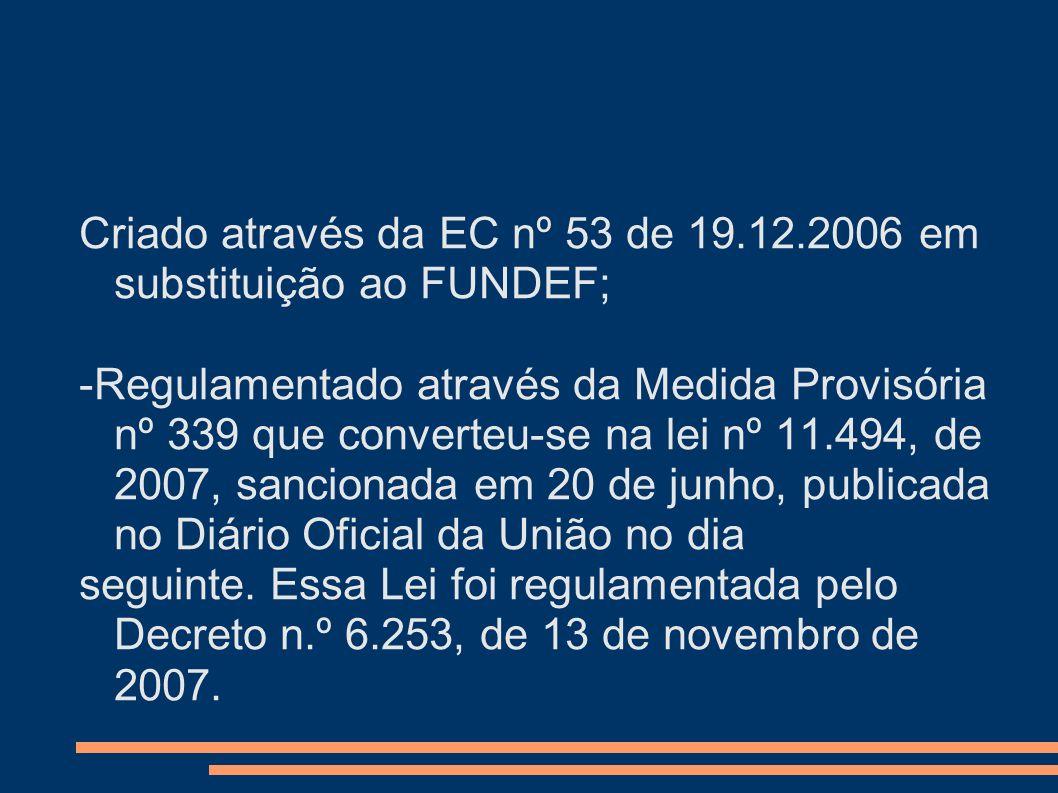 Criado através da EC nº 53 de 19.12.2006 em substituição ao FUNDEF;
