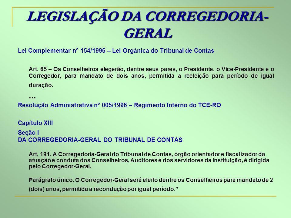 LEGISLAÇÃO DA CORREGEDORIA-GERAL