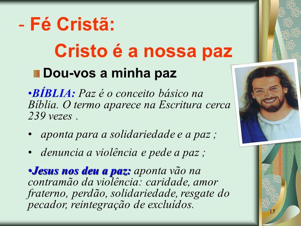 Fé Cristã: Cristo é a nossa paz Dou-vos a minha paz