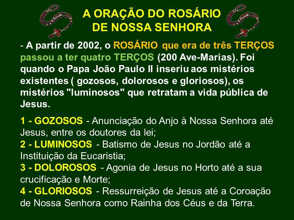 A ORAÇÃO DO ROSÁRIO DE NOSSA SENHORA