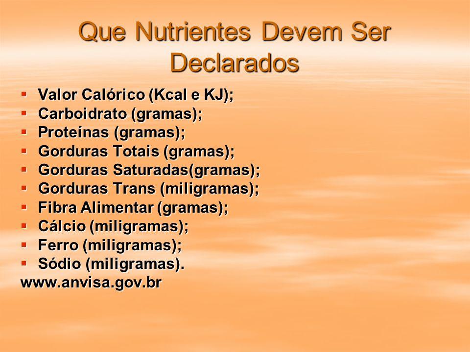 Que Nutrientes Devem Ser Declarados