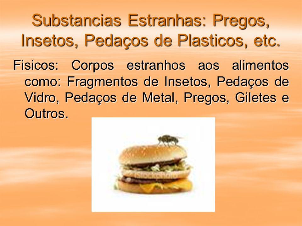 Substancias Estranhas: Pregos, Insetos, Pedaços de Plasticos, etc.