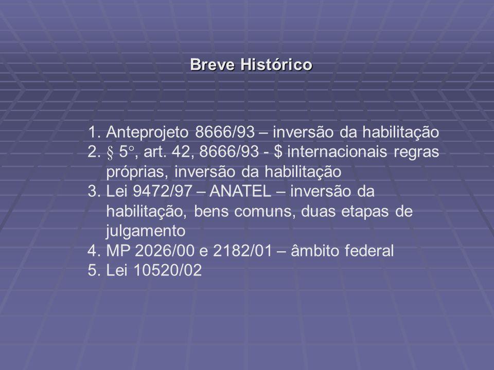 Breve Histórico Anteprojeto 8666/93 – inversão da habilitação. § 5°, art. 42, 8666/93 - $ internacionais regras próprias, inversão da habilitação.