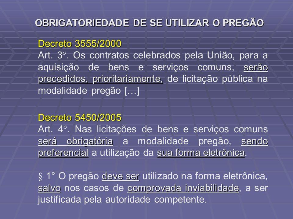 OBRIGATORIEDADE DE SE UTILIZAR O PREGÃO