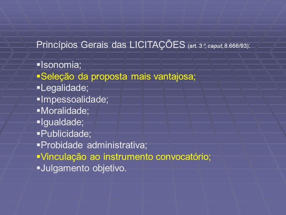 Princípios Gerais das LICITAÇÕES (art. 3°, caput, 8.666/93):