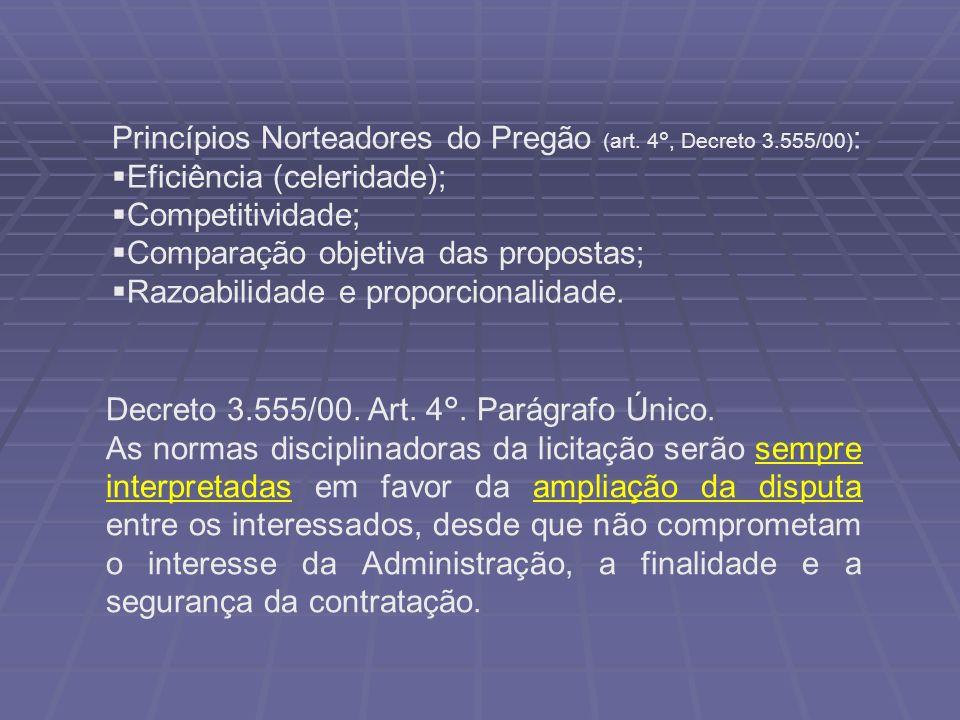 Princípios Norteadores do Pregão (art. 4°, Decreto 3.555/00):
