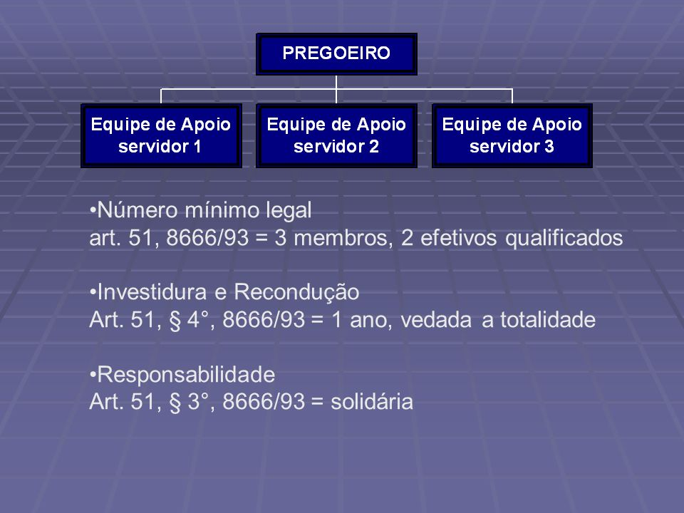 Número mínimo legal art. 51, 8666/93 = 3 membros, 2 efetivos qualificados. Investidura e Recondução.