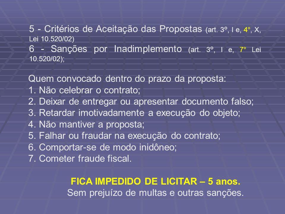 FICA IMPEDIDO DE LICITAR – 5 anos.