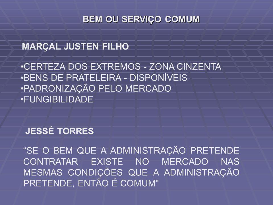 BEM OU SERVIÇO COMUM MARÇAL JUSTEN FILHO. CERTEZA DOS EXTREMOS - ZONA CINZENTA. BENS DE PRATELEIRA - DISPONÍVEIS.