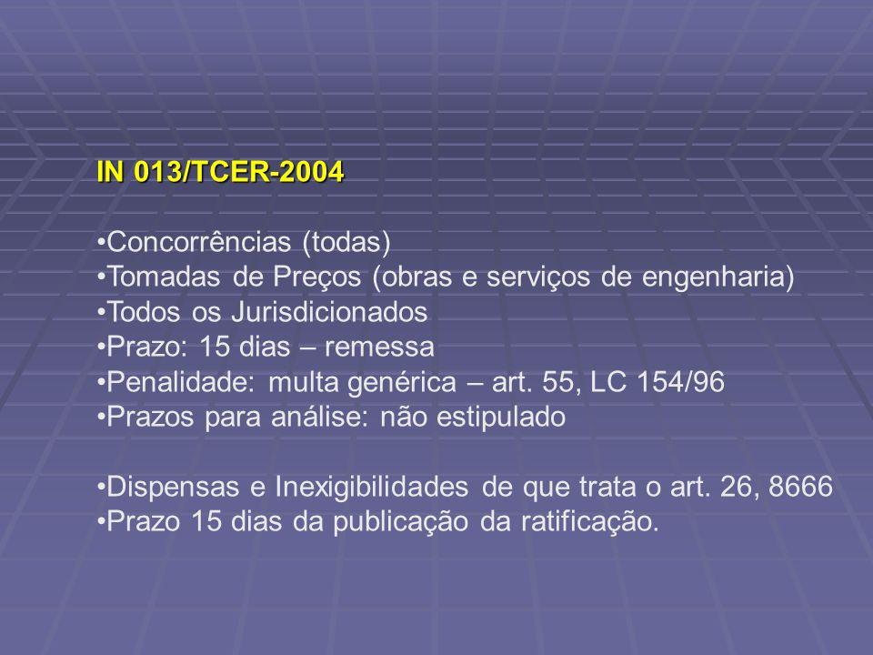 IN 013/TCER-2004 Concorrências (todas) Tomadas de Preços (obras e serviços de engenharia) Todos os Jurisdicionados.