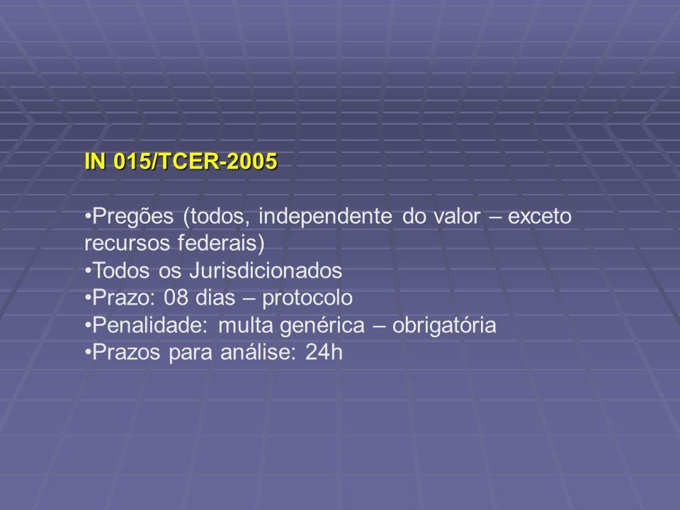IN 015/TCER-2005 Pregões (todos, independente do valor – exceto recursos federais) Todos os Jurisdicionados.