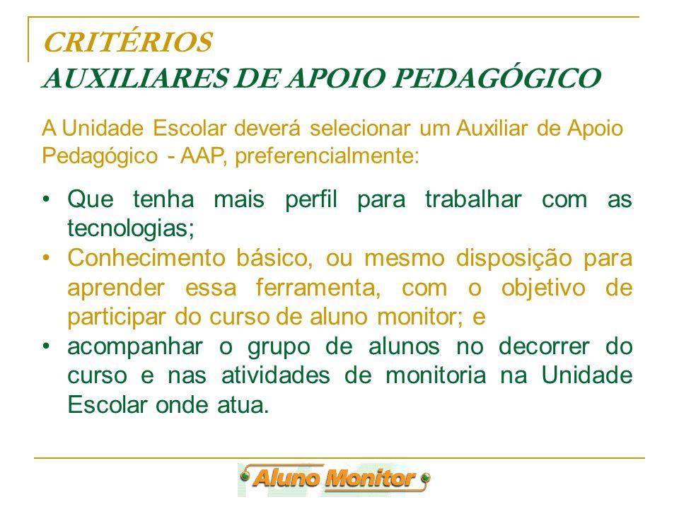 CRITÉRIOS AUXILIARES DE APOIO PEDAGÓGICO