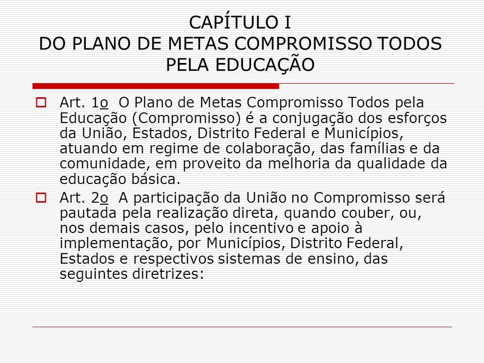 CAPÍTULO I DO PLANO DE METAS COMPROMISSO TODOS PELA EDUCAÇÃO