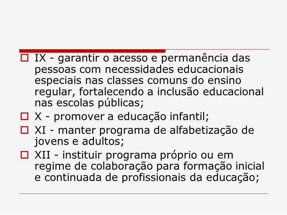 IX - garantir o acesso e permanência das pessoas com necessidades educacionais especiais nas classes comuns do ensino regular, fortalecendo a inclusão educacional nas escolas públicas;
