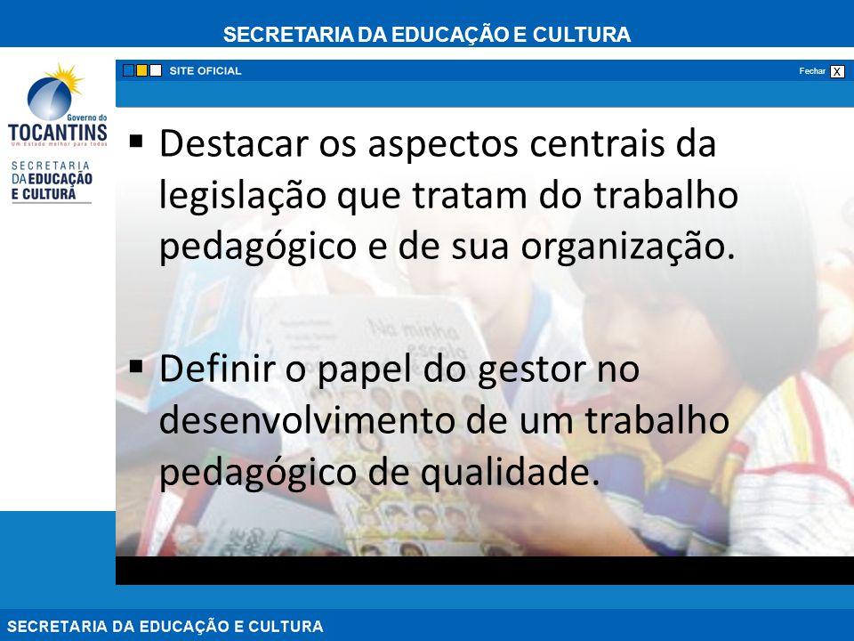 Destacar os aspectos centrais da legislação que tratam do trabalho pedagógico e de sua organização.