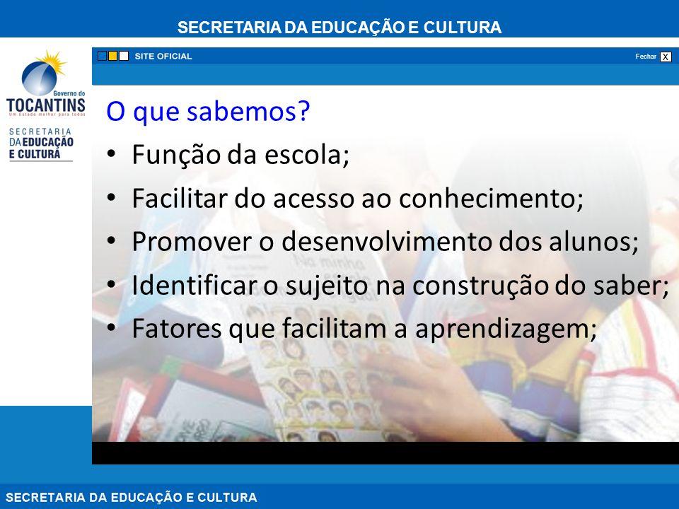 O que sabemos Função da escola; Facilitar do acesso ao conhecimento; Promover o desenvolvimento dos alunos;