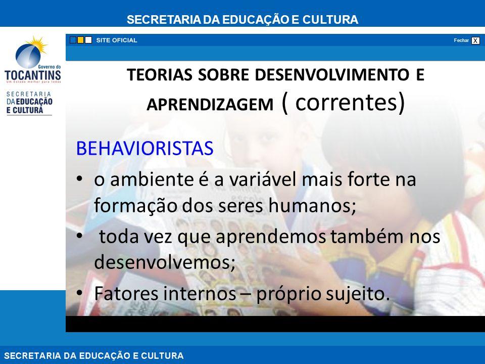 TEORIAS SOBRE DESENVOLVIMENTO E APRENDIZAGEM ( correntes)