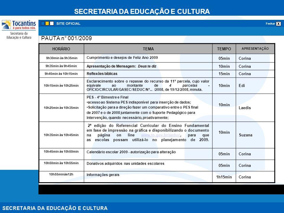PAUTA n° 001/2009 HORÁRIO TEMA TEMPO 05min Corina 10min 15min Edi