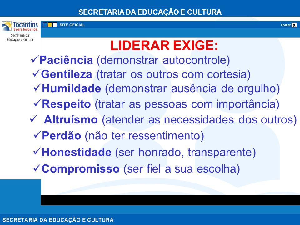 LIDERAR EXIGE: Paciência (demonstrar autocontrole)