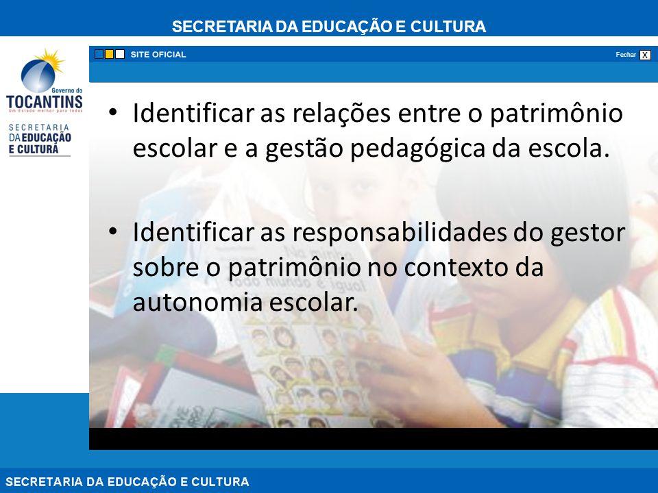 Identificar as relações entre o patrimônio escolar e a gestão pedagógica da escola.