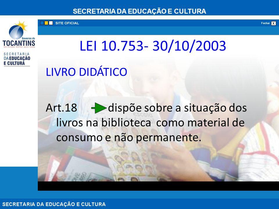 LEI 10.753- 30/10/2003 LIVRO DIDÁTICO.