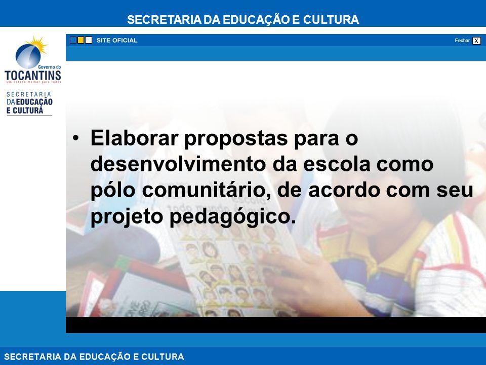 Elaborar propostas para o desenvolvimento da escola como pólo comunitário, de acordo com seu projeto pedagógico.