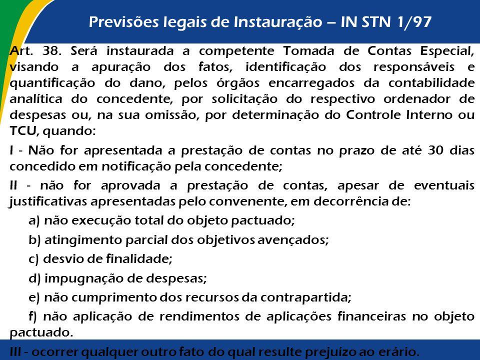 Previsões legais de Instauração – IN STN 1/97