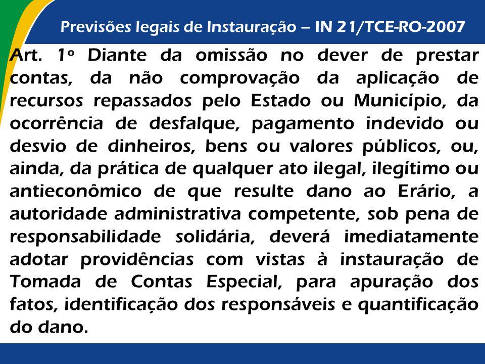Previsões legais de Instauração – IN 21/TCE-RO-2007