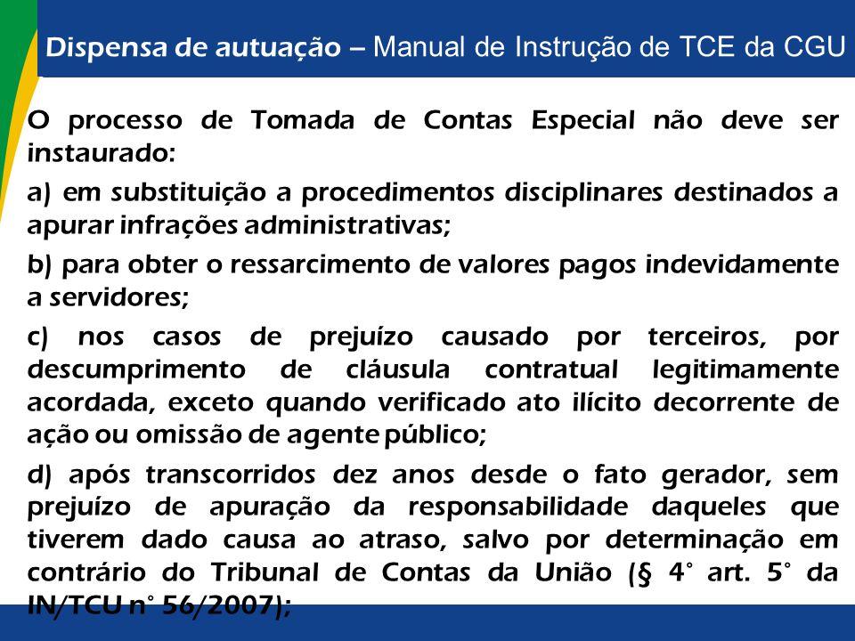 Dispensa de autuação – Manual de Instrução de TCE da CGU