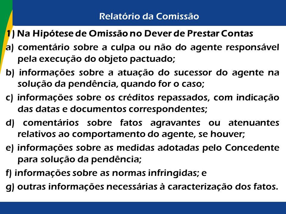 Relatório da Comissão 1) Na Hipótese de Omissão no Dever de Prestar Contas.