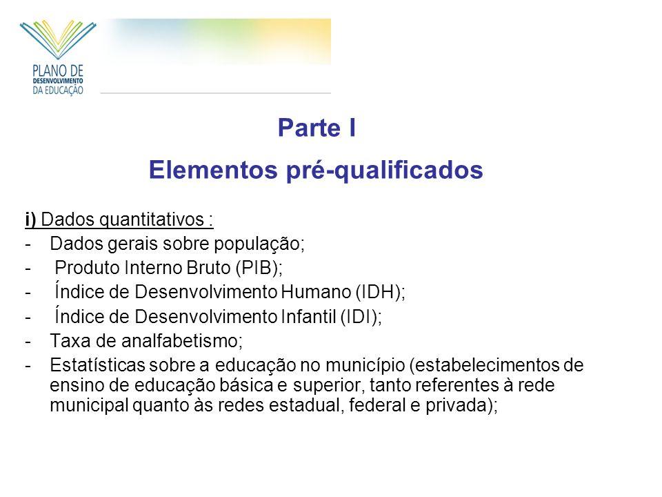 Parte I Elementos pré-qualificados