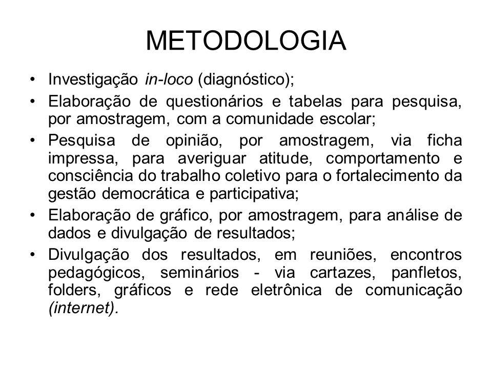 METODOLOGIA Investigação in-loco (diagnóstico);