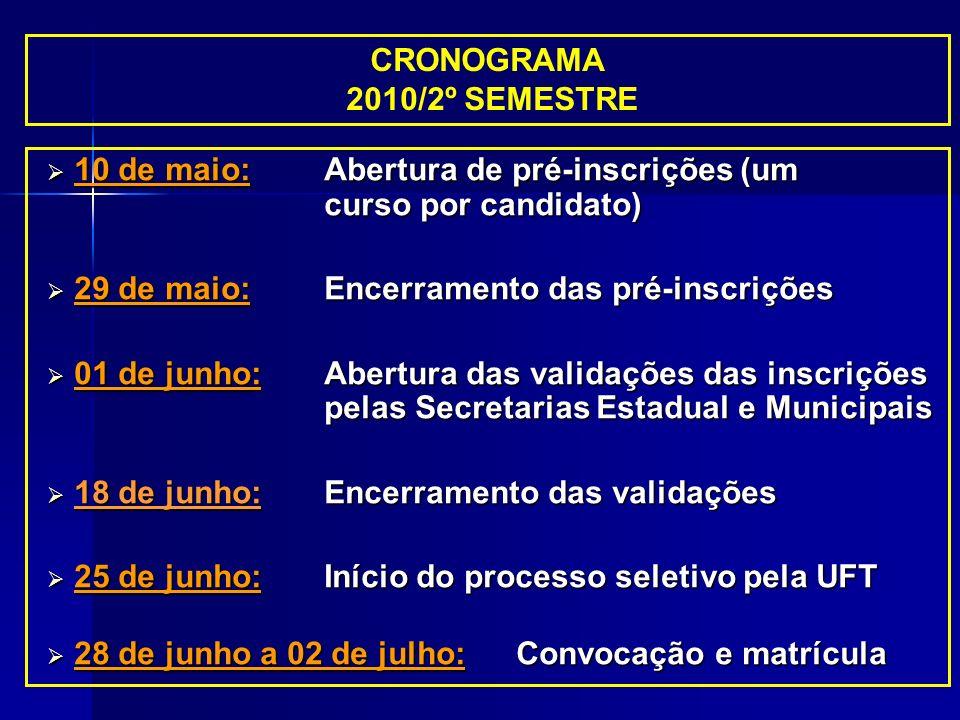 CRONOGRAMA 2010/2º SEMESTRE. 10 de maio: Abertura de pré-inscrições (um curso por candidato) 29 de maio: Encerramento das pré-inscrições.