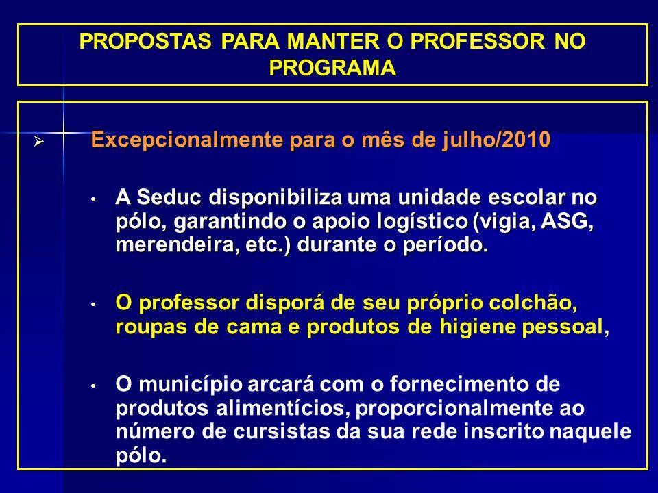 PROPOSTAS PARA MANTER O PROFESSOR NO PROGRAMA