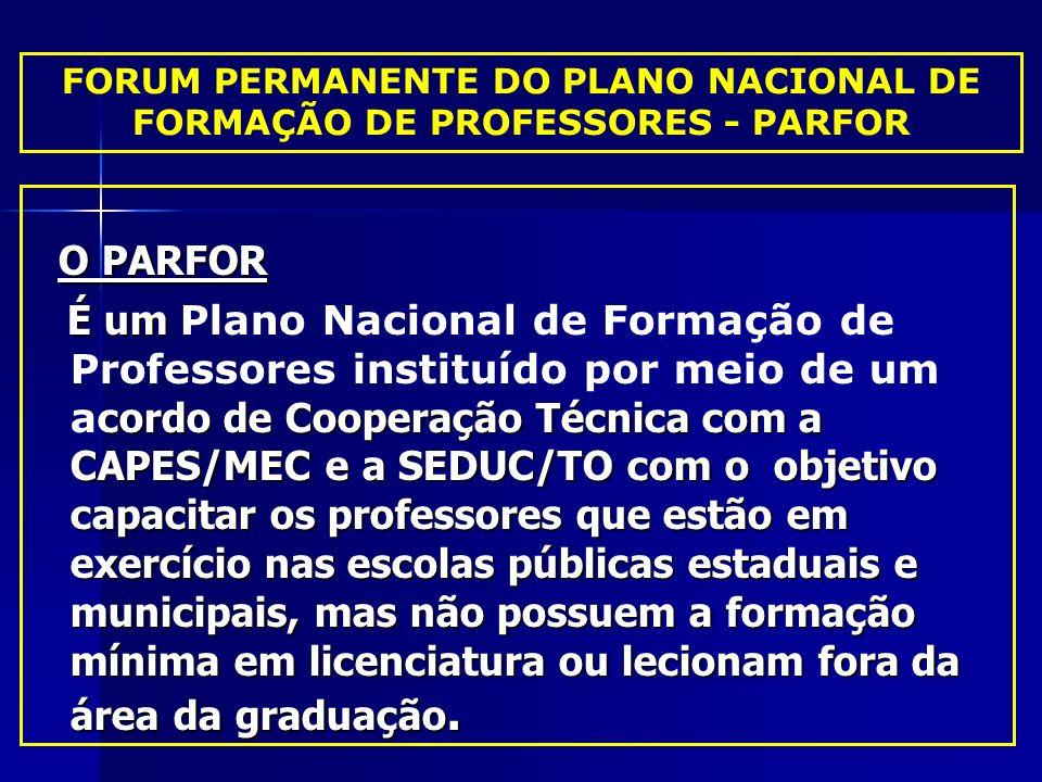 FORUM PERMANENTE DO PLANO NACIONAL DE FORMAÇÃO DE PROFESSORES - PARFOR