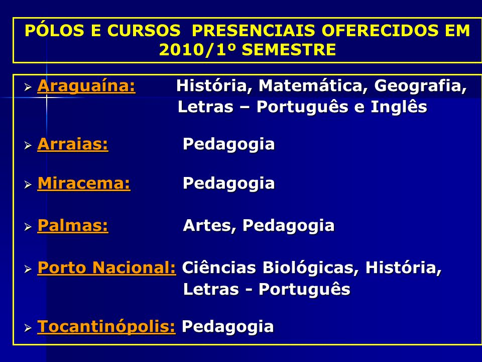 PÓLOS E CURSOS PRESENCIAIS OFERECIDOS EM 2010/1º SEMESTRE