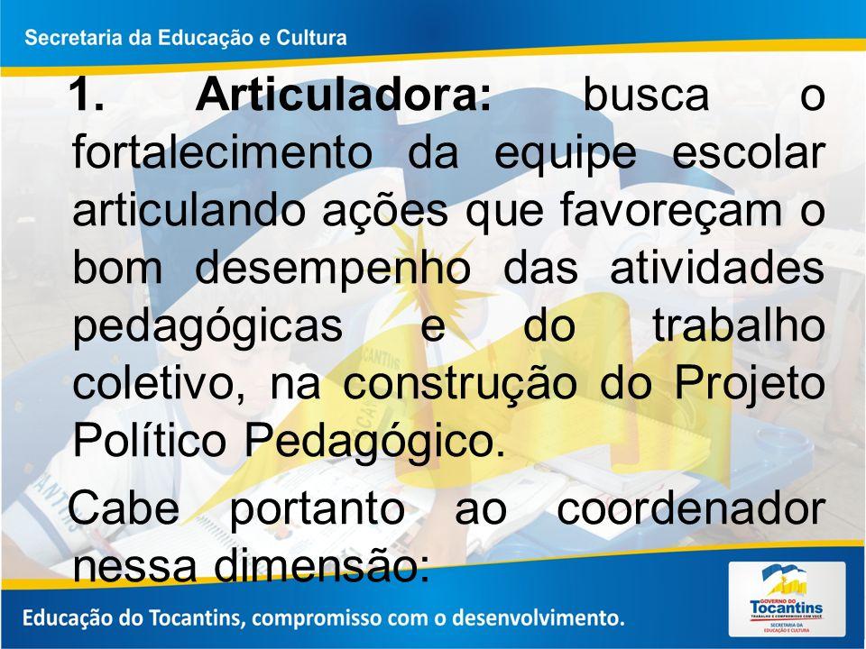 1. Articuladora: busca o fortalecimento da equipe escolar articulando ações que favoreçam o bom desempenho das atividades pedagógicas e do trabalho coletivo, na construção do Projeto Político Pedagógico.