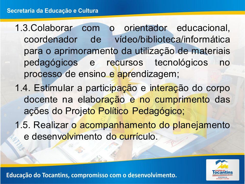 1.3.Colaborar com o orientador educacional, coordenador de vídeo/biblioteca/informática para o aprimoramento da utilização de materiais pedagógicos e recursos tecnológicos no processo de ensino e aprendizagem;