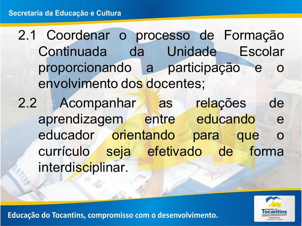 2.1 Coordenar o processo de Formação Continuada da Unidade Escolar proporcionando a participação e o envolvimento dos docentes;
