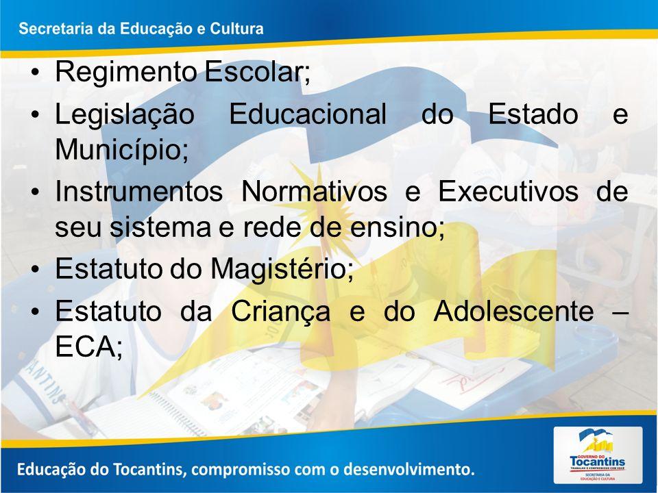 Regimento Escolar; Legislação Educacional do Estado e Município; Instrumentos Normativos e Executivos de seu sistema e rede de ensino;