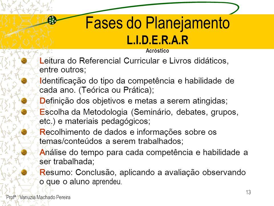 Fases do Planejamento L.I.D.E.R.A.R Acróstico