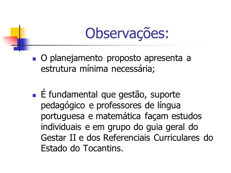 Observações: O planejamento proposto apresenta a estrutura mínima necessária;