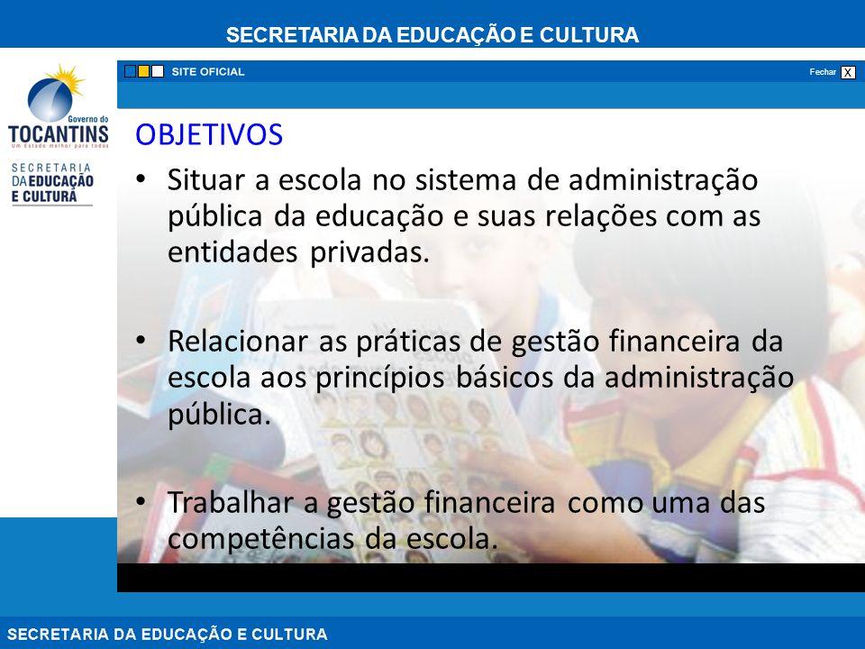 OBJETIVOS Situar a escola no sistema de administração pública da educação e suas relações com as entidades privadas.