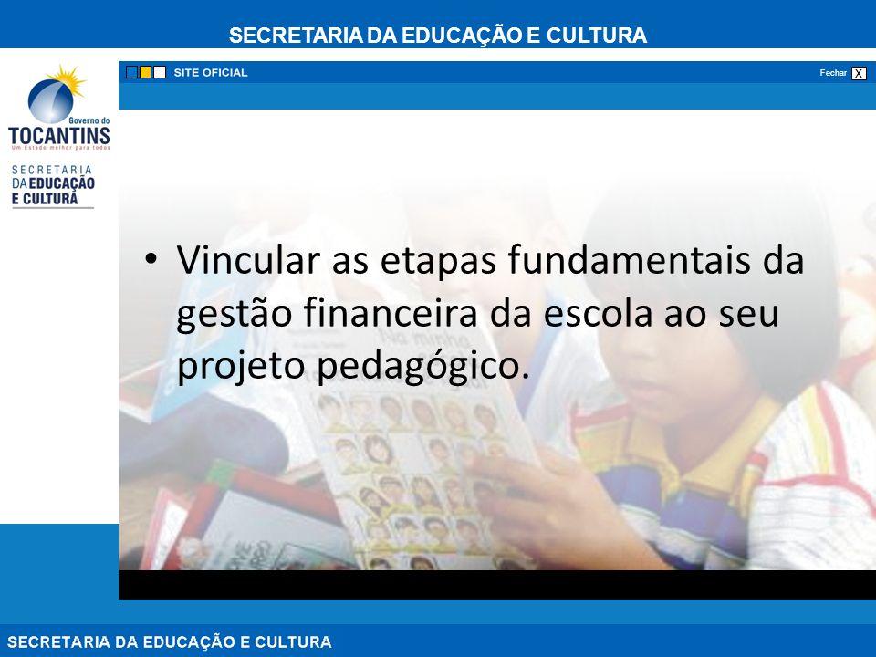 Vincular as etapas fundamentais da gestão financeira da escola ao seu projeto pedagógico.