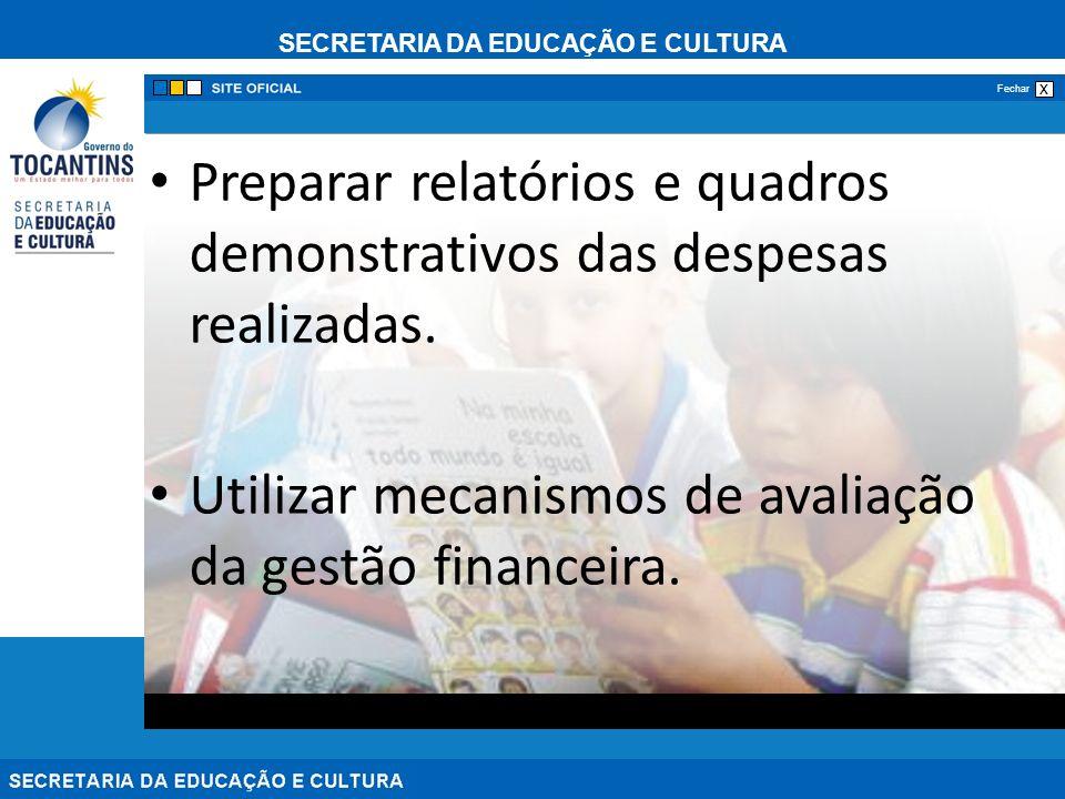Preparar relatórios e quadros demonstrativos das despesas realizadas.