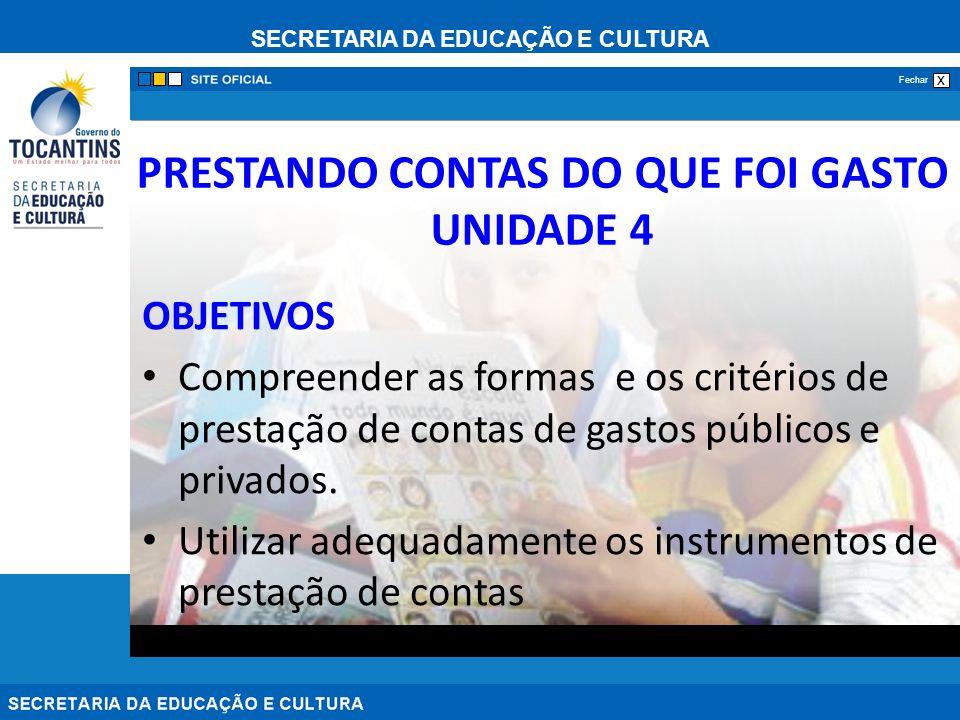 PRESTANDO CONTAS DO QUE FOI GASTO UNIDADE 4
