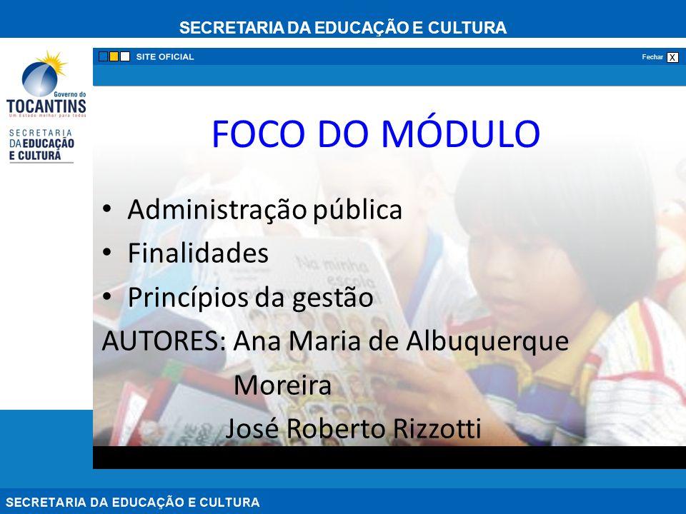 FOCO DO MÓDULO Administração pública Finalidades Princípios da gestão
