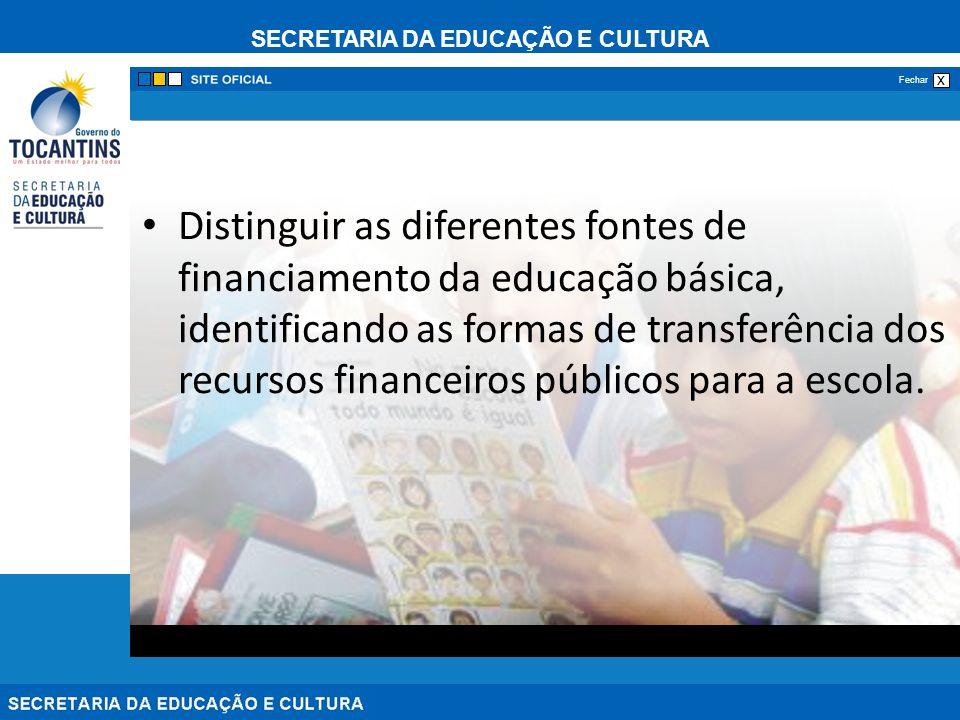 Distinguir as diferentes fontes de financiamento da educação básica, identificando as formas de transferência dos recursos financeiros públicos para a escola.